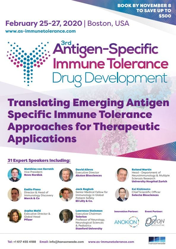 3rd Antigen Specific Immune Tolerance Drug Development Summit Event Guide